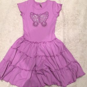 Purple cotton dress with butterfly